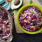 This cilantro-lime coleslaw is a crunchy slaw with lots of fresh-squeezed lime juice, cilantro, and crunchy cabbage and carrots. Dairy and gluten free!