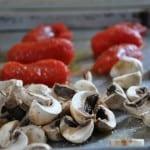 Tomato, Mushroom Bruschetta with Ham and Eggs