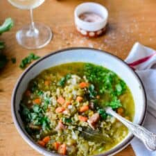 Not your traditional Mexican soup, but our family loves it in the winter time. Hearty and filling with creamy split peas and hunks of smoked ham.