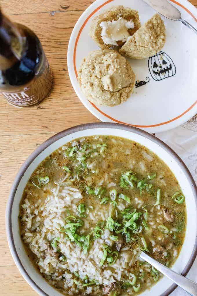 Green Tomato and Sausage Soup with Rice. A brothy Mexican soup that uses the last of the garden's tomatoes who haven't gotten a chance to ripen. #greentomatoes #holajalapeno #souprecipe #Mexicansoup