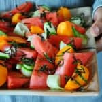 Watermelon Apricot Salad with Sesame Dressing