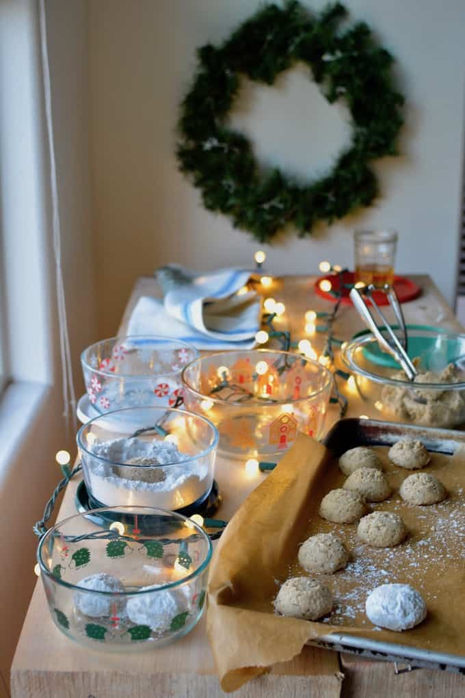 These naturally vegan gluten-free Mexican Wedding Cookies are so crumbly, nutty, and delicious you'll find yourself making them again and again! #mexicanweddingcookies #christmascookies #glutenfreecookies #dairyfreecookies #vegancookies #glutenfreechristmascookies