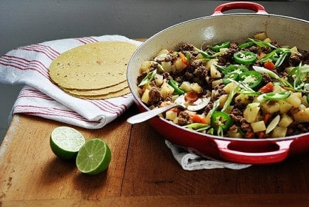 Mexican Picadillo is an easy, delicious dinner made with seasoned ground beef, potatoes, and carrots. It makes a taco filling the whole family will love.