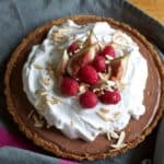 This Mexican Chocolate Tart is a silky, fudgey tart spiked with tequila and baked into a saltine and graham cracker crust for that salty-sweet finish.