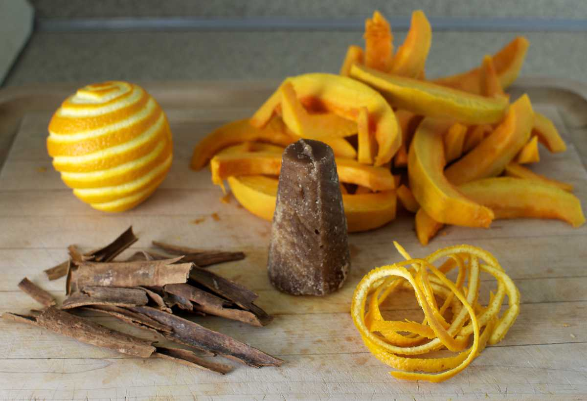 Candied pumpkin tart ingredients