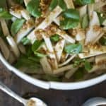 This Jicama Slaw with Ginger Molasses Vinaigrette turns the humble jicama into a show-stopping side that is meant for Thanksgiving or any time of year.