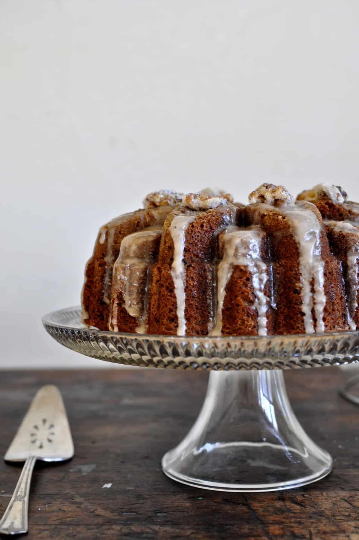 Olive Oil and Spiced Butternut Squash Bundt Cake with Cognac Vanilla Glaze