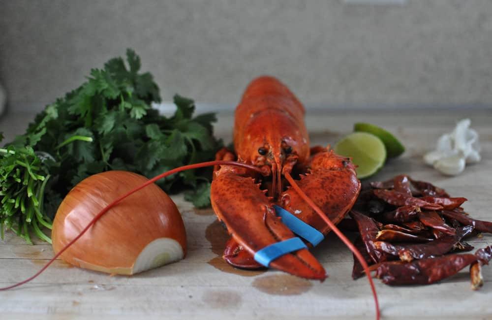 Ingredients for lobster tacos