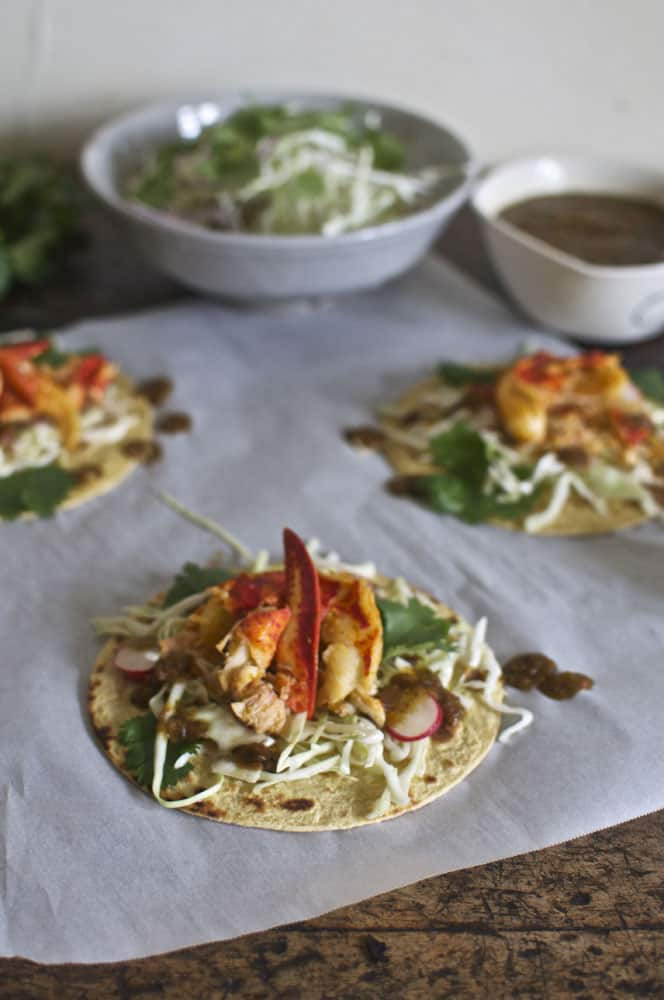 Lobster Taco with Ancho Chile Salsa