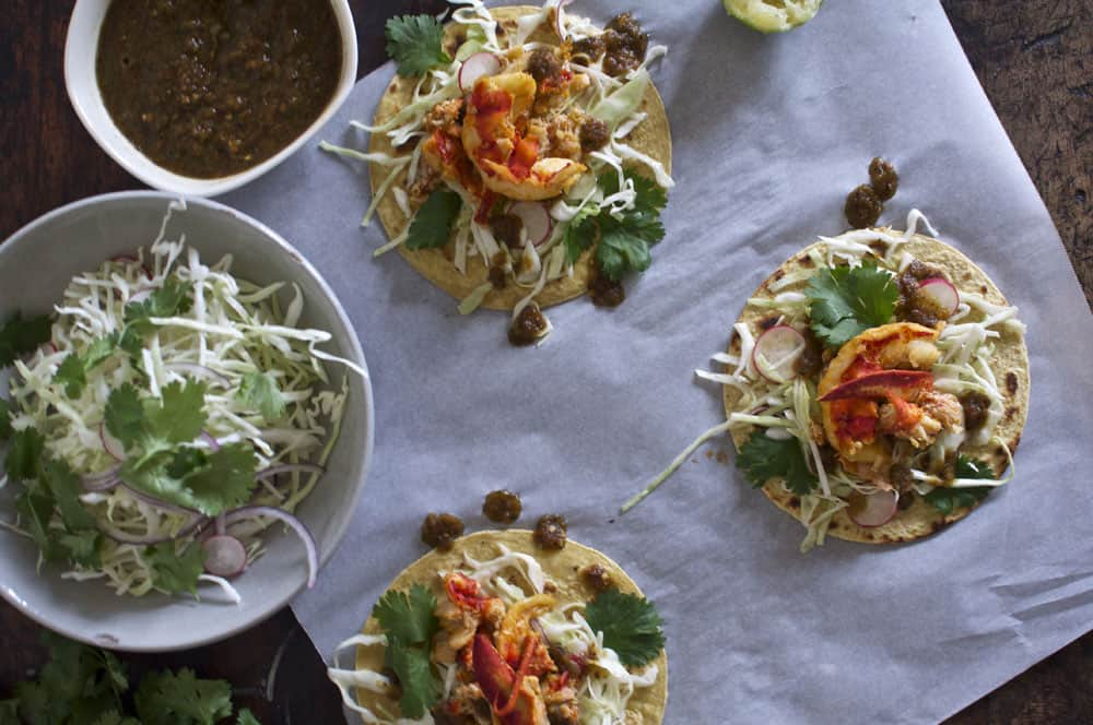 Lobster Tacos with Ancho Chile Salsa