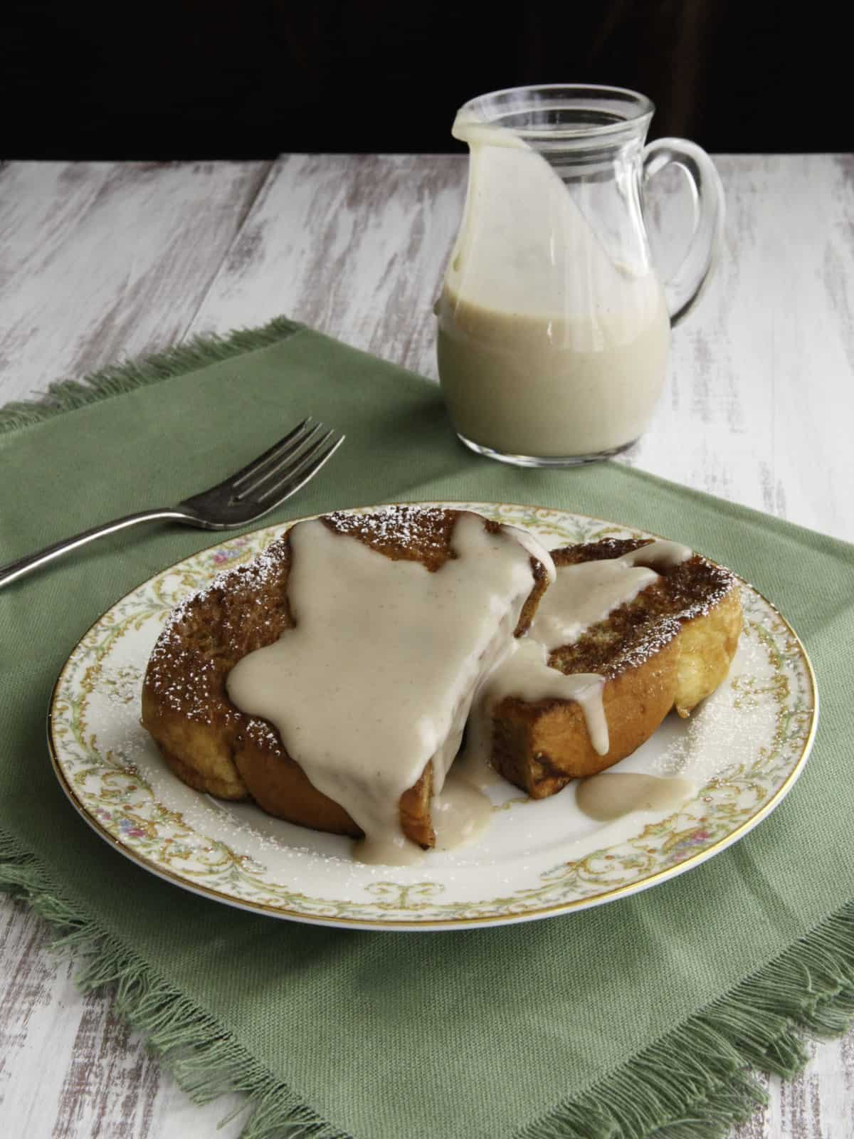 Challah French Toast with Kahlua Coconut Créme from Tori Avey