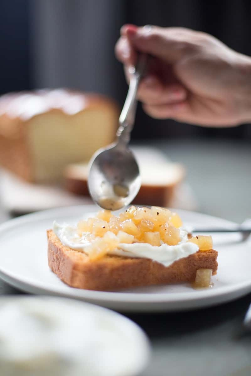 Toasted Brioche with Whipped Goat Cheese and Asian Pear Compote from Salt and Wind