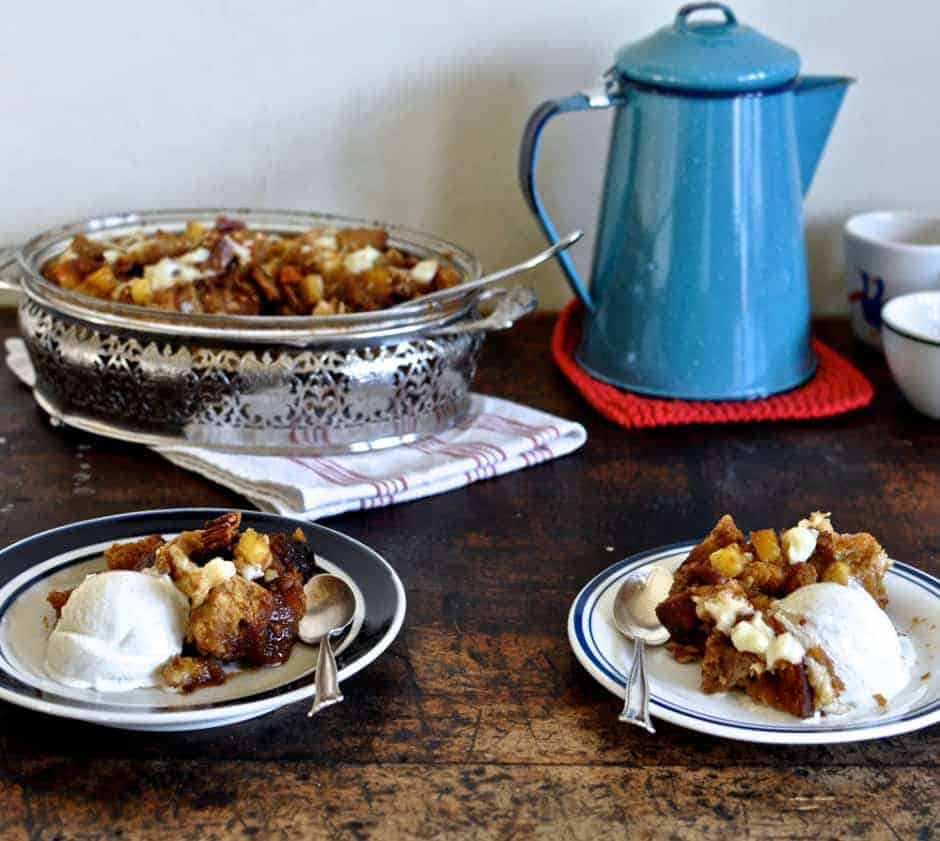 Pineapple and pecan capirotada is a Mexican-style bread pudding made with sweetened cinnamon syrup, fresh cheese, toasted pecans and juicy pineapple.