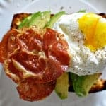 Toasted Beer Cornbread with Avocado, Crispy Pancetta, and Poached Eggs