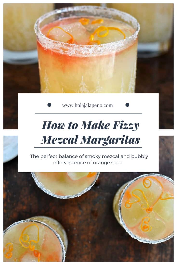 This mezcal margarita is the perfect balance of smoky mezcal, and bright orange flavor from fresh orange zest and the bubbly effervescence of orange soda. #mezcal #mezcalmargaritas #margarita