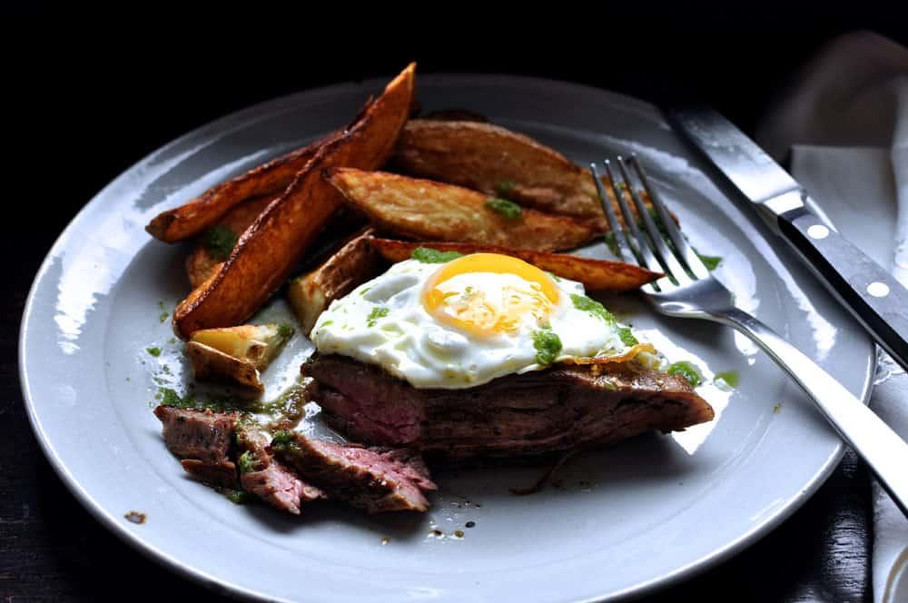Churrasco {Ecuadorian Steak and Eggs with Green Chili Sauce and Fries}