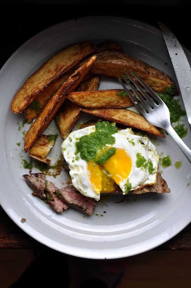 Churrasco {Ecuadorian Steak and Eggs with Green Chili Sauce}