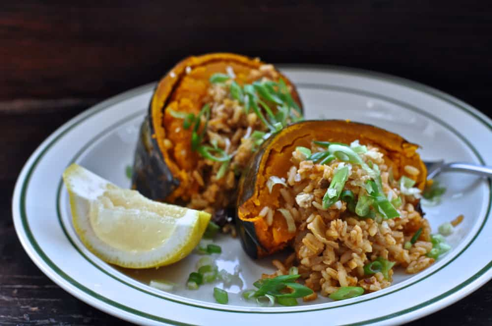Pumpkin Stuffed with chorizo rice and goat cheese