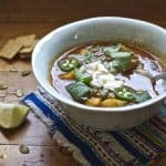 Chicken Chileatole with Lime Sour Cream
