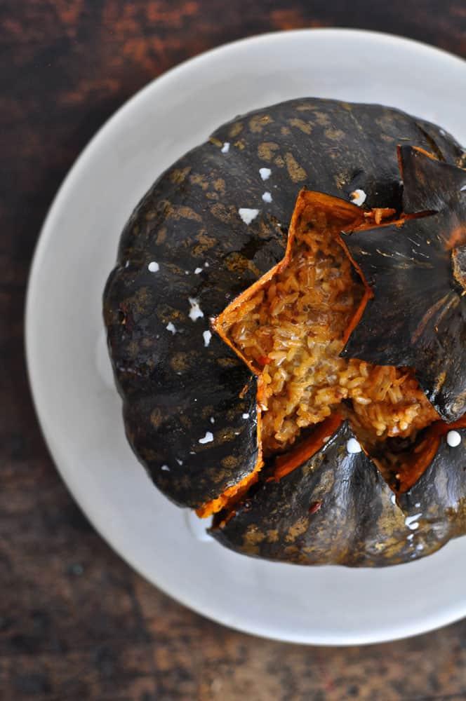 Rice and Chorizo Stuffed Baked Pumpkin