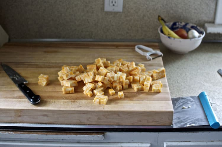 Prepping cheese for soup