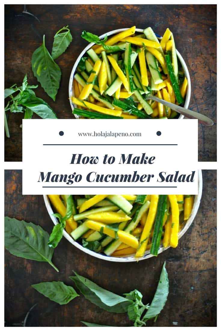 This mango cucumber salad is perfect for summer barbecues and picnics! The spicy cayenne dressing is delicious with the sweet mango and crisp cucumber. #healthyLatinfood #healthyMexicanrecipe #easysalad