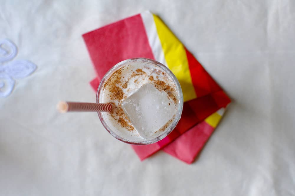 This almond and white chocolate horchata is like a healthier, easier milkshake. Ice cold and just as refreshing but can be made in less than 5 minutes.