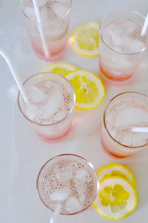 Chia Seed Rhubarb Lemonade