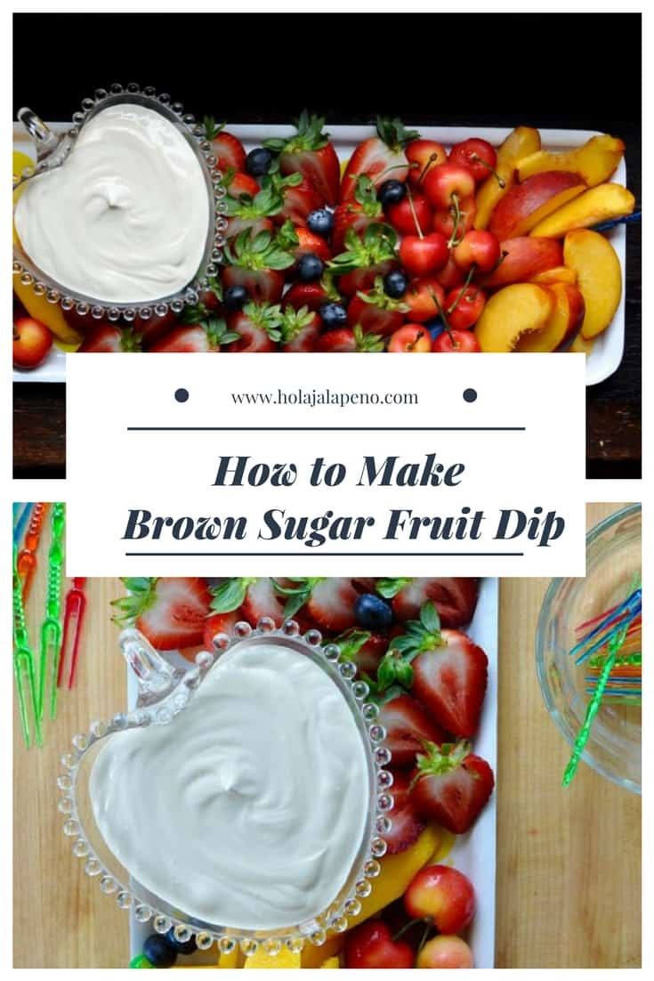 Photo montage of two images of sour cream fruit dip and cut up fruit with a text overlay.