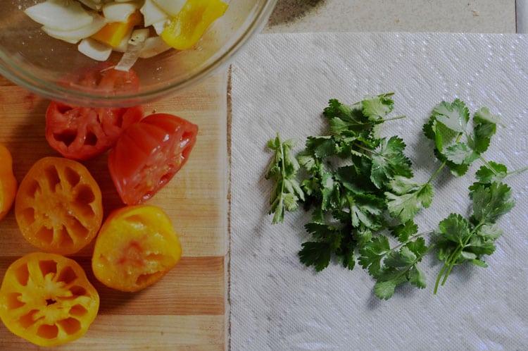 prepping salsa