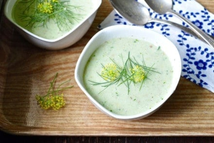 This refreshing green grape and almond gazpacho is a delicious twist on the classic tomatoey cold soup made with buttermilk, cucumbers, and dill.