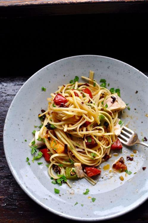 Heirloom Tomato Guajillo Pasta with Tuna