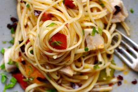 How to make a delicious heirloom tomato and guajillo pasta with tuna recipe for a healthy weeknight meal using the best of summer's ingredients.