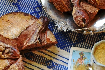 This chocolate pan de muerto, or Day of the Dead bread is a special treat made for the Mexican holiday Dia de los Muertos.