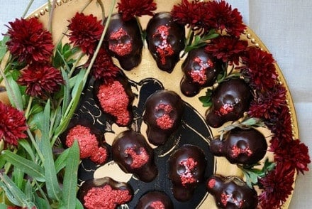 Calaveras or skulls are a traditional symbol of the Mexican holiday Day of the Dead. These peanut butter calaveras are like chocolate peanut butter cups!