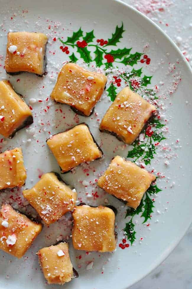 Jamoncillo de leche is a Mexican-style milk fudge recipe made with cocoa powder, coffee, and crushed peppermint candy canes.