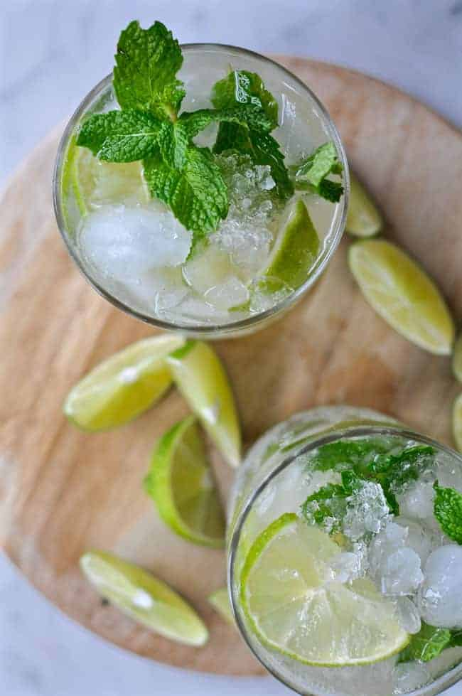 La Mulita is a Mexican Moscow Mule with silver tequila in place of the vodka and loads of fresh mint. Add a splash of ginger beer and a few lime wedges!
