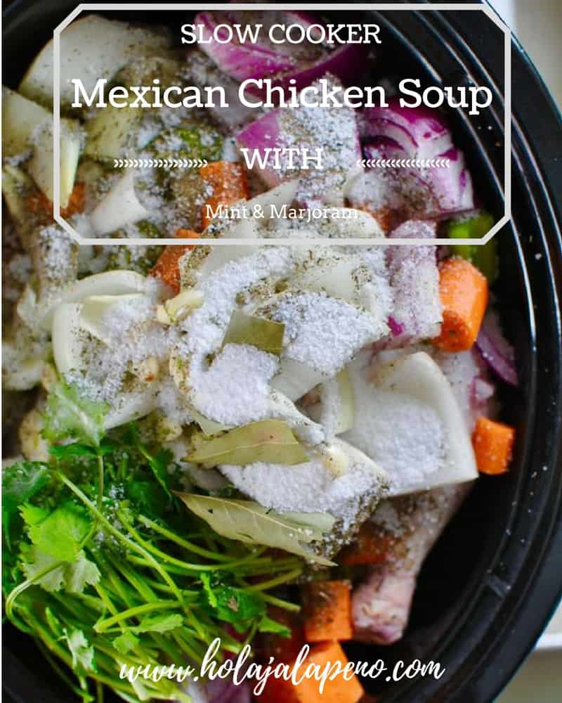 This slow cooker caldo de pollo is a delicious chicken soup recipe that comes together in 15 minutes, flavored with chiles, cilantro, mint, and marjoram. #chickensoup #caldodepollo #healthyMexican