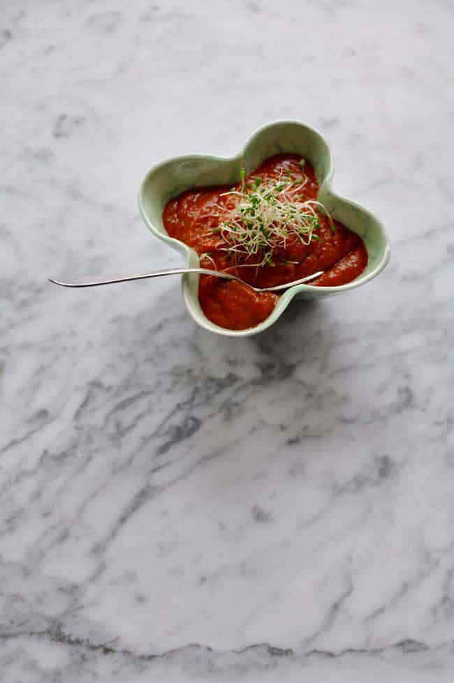 A bowl of Salsa Morita with a handful of sprouts on top and a spoon in it sitting on a marble table.
