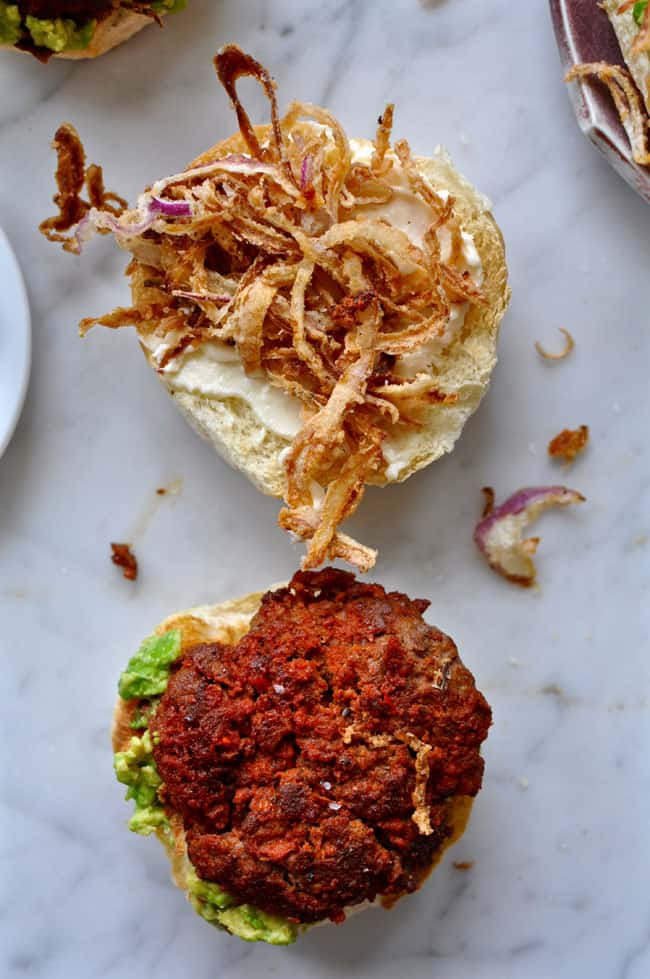 chorizo burgers with smashed avocado and crispy onions recipe