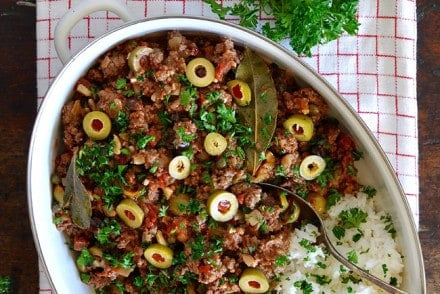 A family favorite, this Cuban Picadillo is made with ground beef, cured chorizo sausage, tomatoes, olives, garlic, and raisins. Dairy and gluten free!