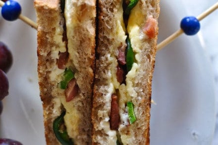 This jalapeño popper grilled cheese has everyone's favorite bar snack stuffed inside a grilled cheese sandwich. Cream cheese, Cheddar, jalapeños, and bacon.