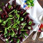 Perfect for picnics, this roasted beet salad can be made in advance and gets better as the beets marinate in the jalapeño, garlic and lime dressing.
