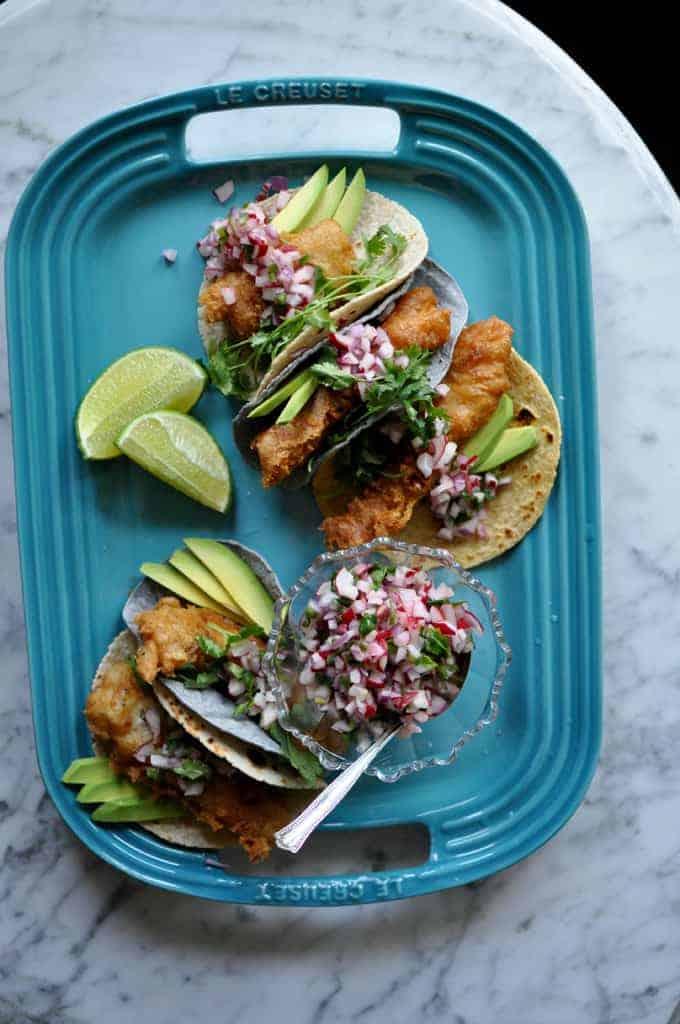Fish Tacos with radish salsa recipe