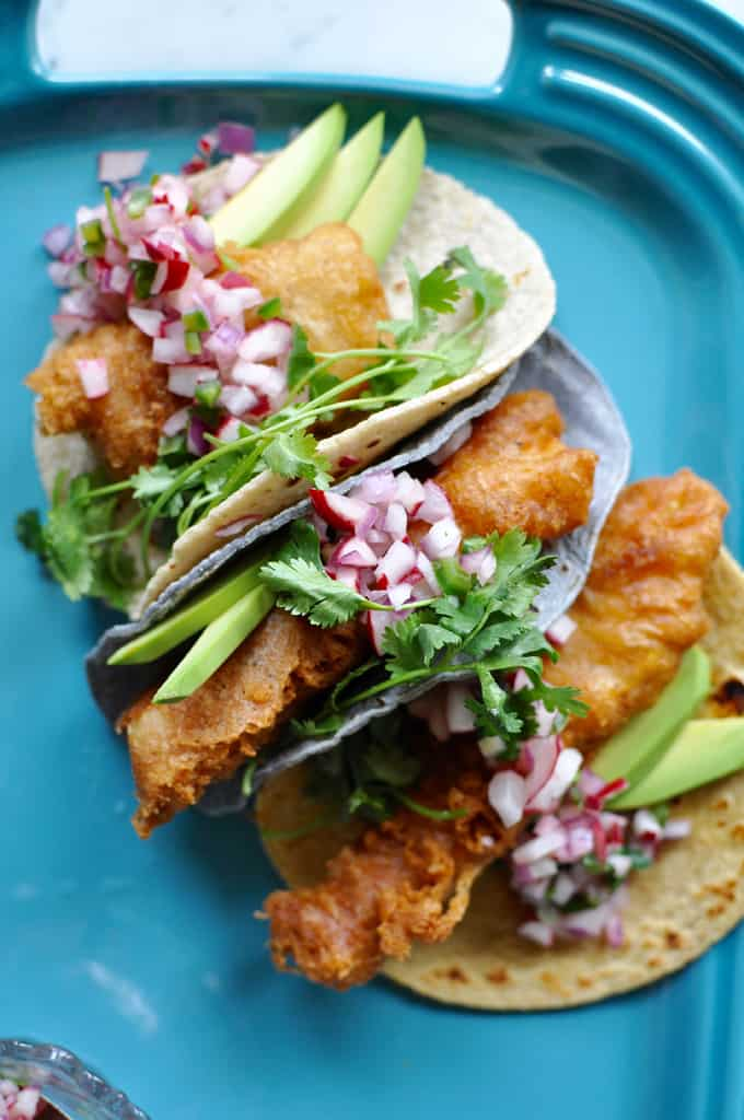Beer-battered fish tacos with radish salsa recipe