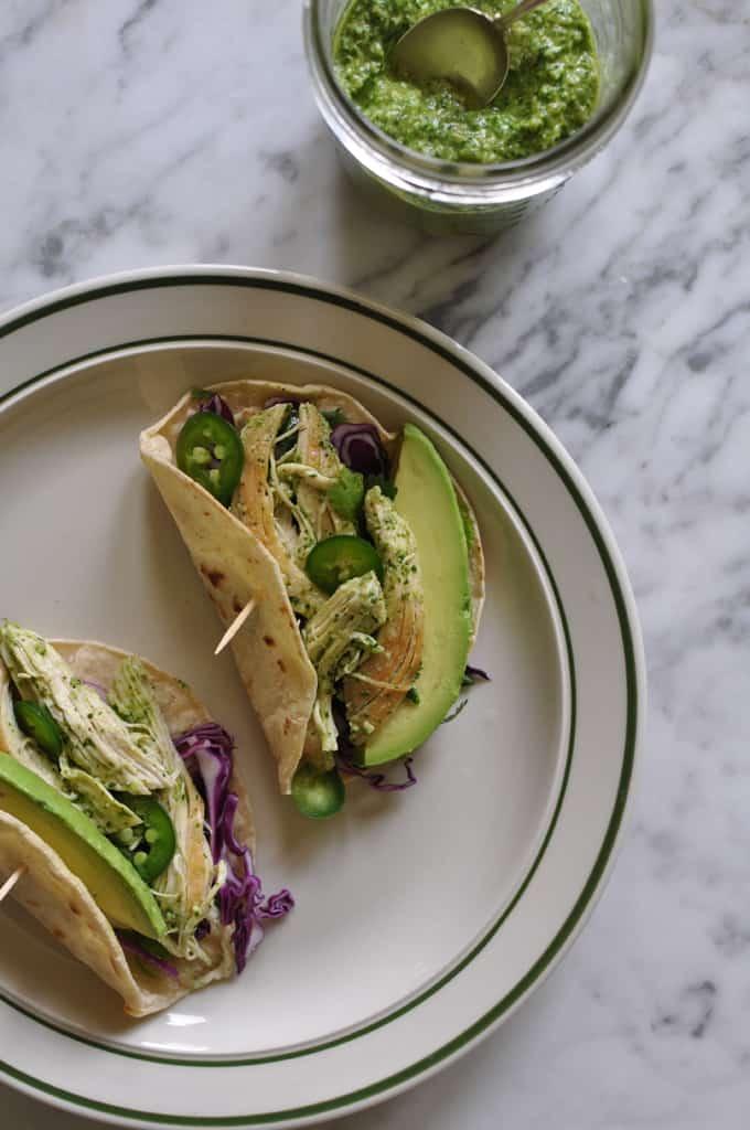 Chicken Tacos with Cilantro Pesto Recipe