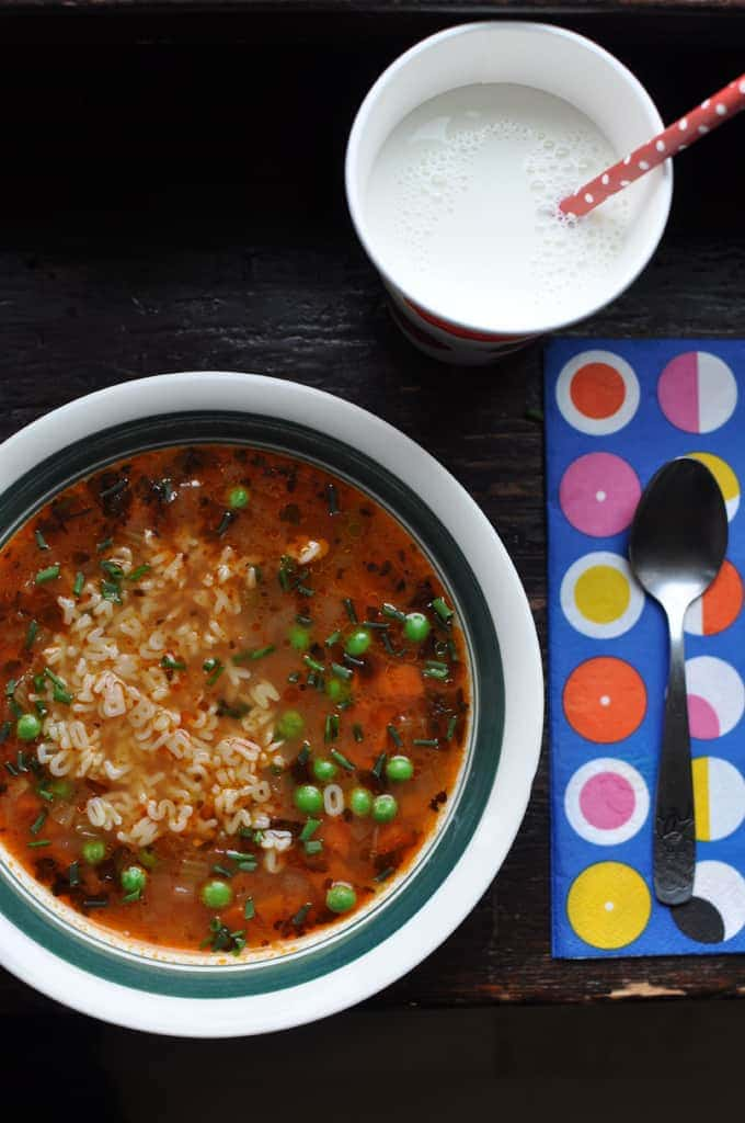 Sopita de letras is a Mexican vegetable soup made with alphabet pasta loved by kids and grown-ups alike. It is a healthy, easy, and budget-friendly dinner.