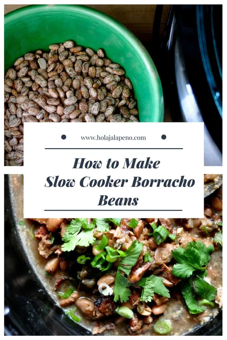 Mexican-style pinto beans simmered with bacon, beer, onions, and spices. These slow cooker borracho beans are a great easy side for barbecues or weeknights. #borrachobeans #mexicanbeans #pintobeansrecipe