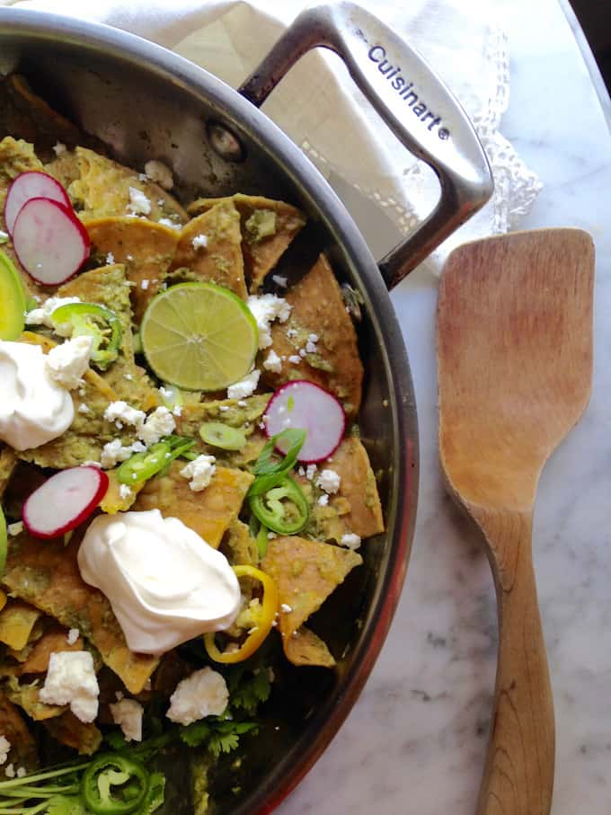 Green Chilaquiles with Fried Eggs Recipe