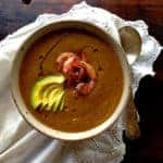 Mexican Gazpacho with Avocado and Grilled Sumac Shrimp Recipe